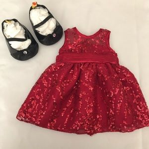Build-A-Bear Red Sequin Dress w/ bow heels